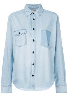 Yves Saint Laurent Saint Laurent logo patch denim shirt - Blue