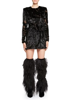 Saint Laurent Long-Sleeve Burnout Velvet Mini Dress