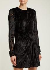 Saint Laurent Long-sleeved velvet-devoré mini dress