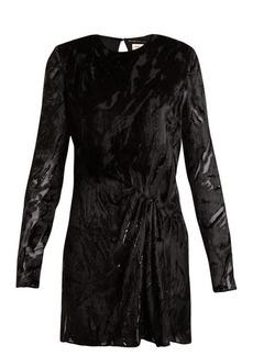 Yves Saint Laurent Saint Laurent Long-sleeved velvet-devoré mini dress