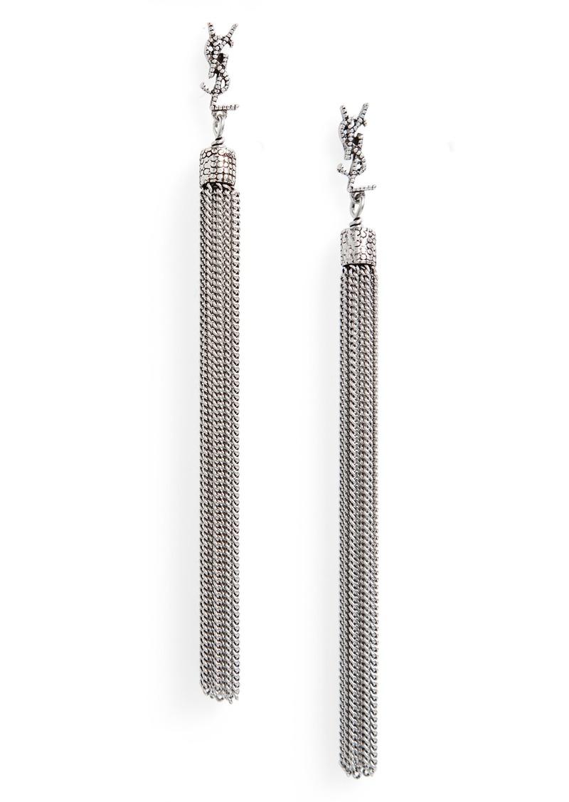 Saint Laurent Loulou Linear Drop Earrings