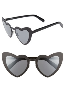 Saint Laurent LouLou 55mm Heart Shaped Sunglasses