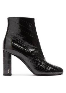 Saint Laurent Loulou distressed patent-leather ankle boots