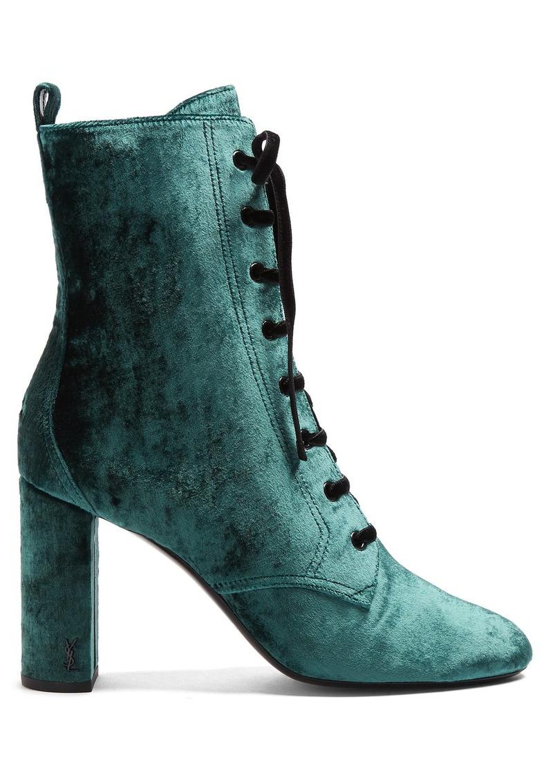 66d8c133002 Saint Laurent Saint Laurent Loulou lace-up crushed-velvet ankle ...