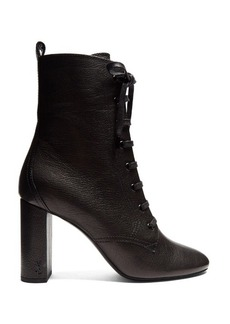 Saint Laurent Loulou lace-up grained-leather ankle boots