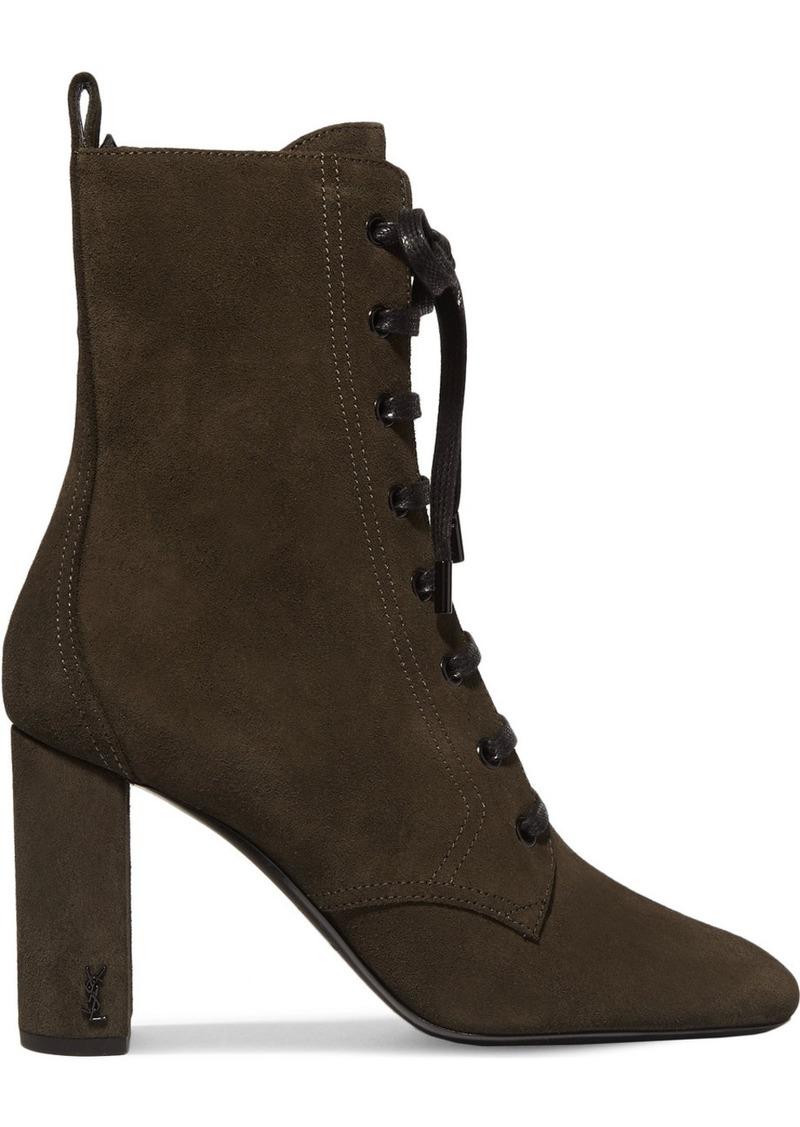 9e1b4ea503a SALE! Saint Laurent Saint Laurent LouLou lace-up suede ankle boots