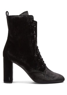 Saint Laurent Loulou lace-up velvet ankle boots