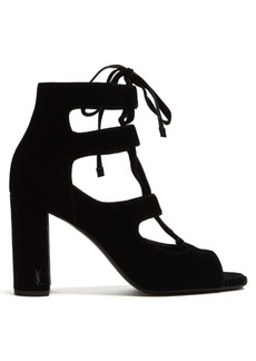 Saint Laurent Loulou lace-up velvet sandals