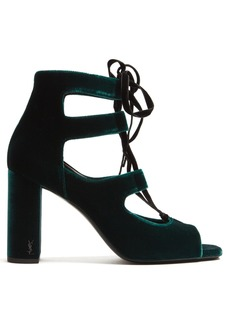 Yves Saint Laurent Saint Laurent Loulou lace-up velvet sandals