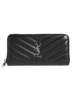 Saint Laurent Loulou Matelassé Leather Zip-Around Wallet