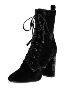 Saint Laurent LouLou Velvet Lace-Up Boot