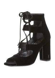 Saint Laurent Loulou Velvet Lace-Up Sandal