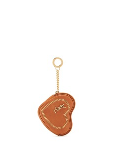 Saint Laurent Love heart-shaped whipstitched leather coin purse