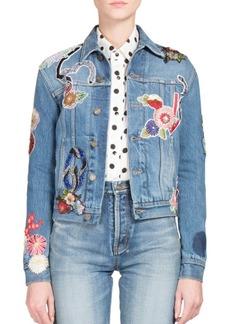 Yves Saint Laurent Saint Laurent Love Patch Denim Jacket