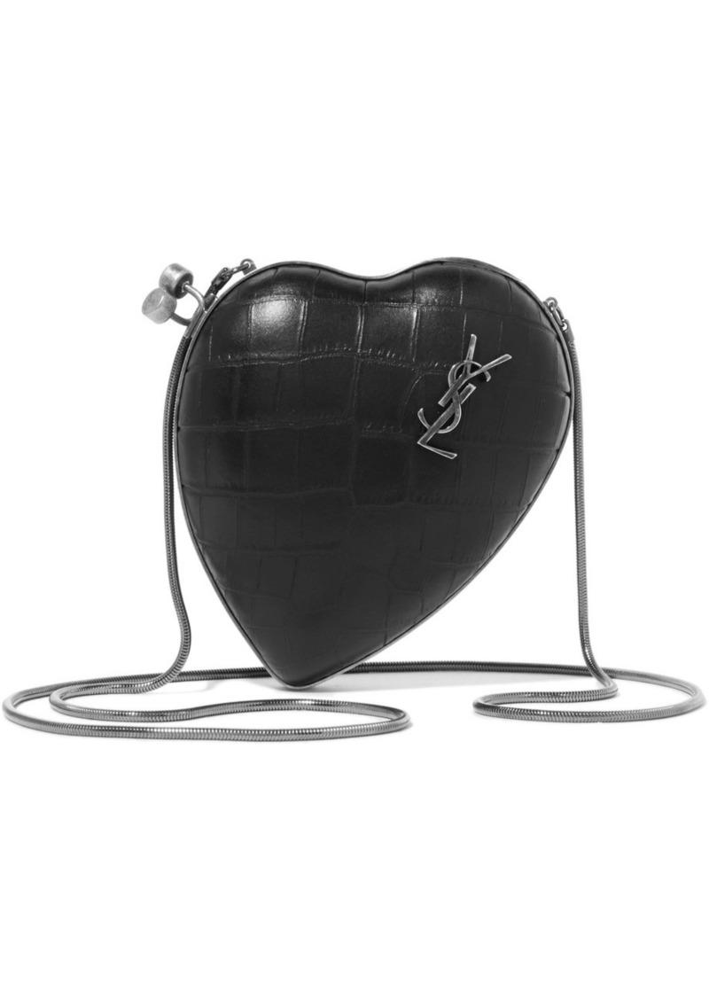 dda4bbdc53 Saint Laurent Saint Laurent Love small croc-effect leather shoulder ...