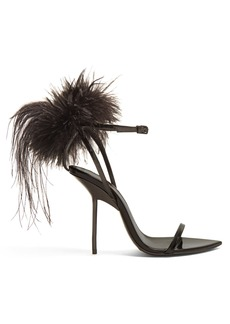 Yves Saint Laurent Saint Laurent Mansour feather-embellished sandals
