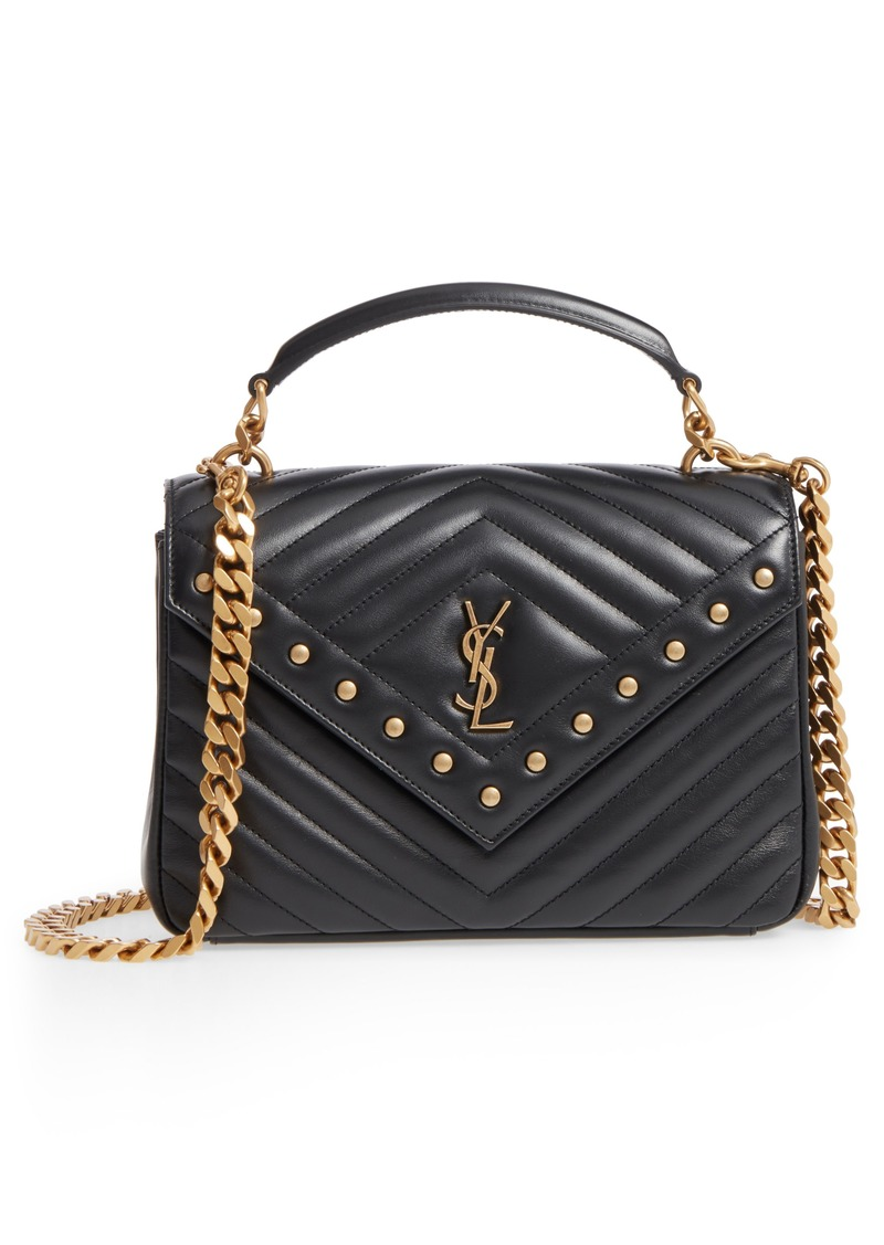 4871af0f147b Saint Laurent Saint Laurent Medium College Studded Matelassé Leather ...