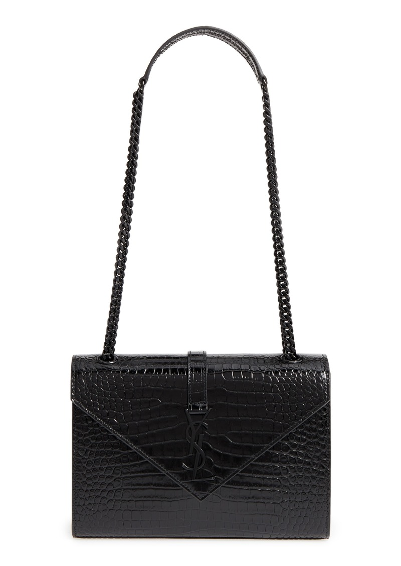 Saint Laurent Medium Croc-Embossed Calfskin Shoulder Bag