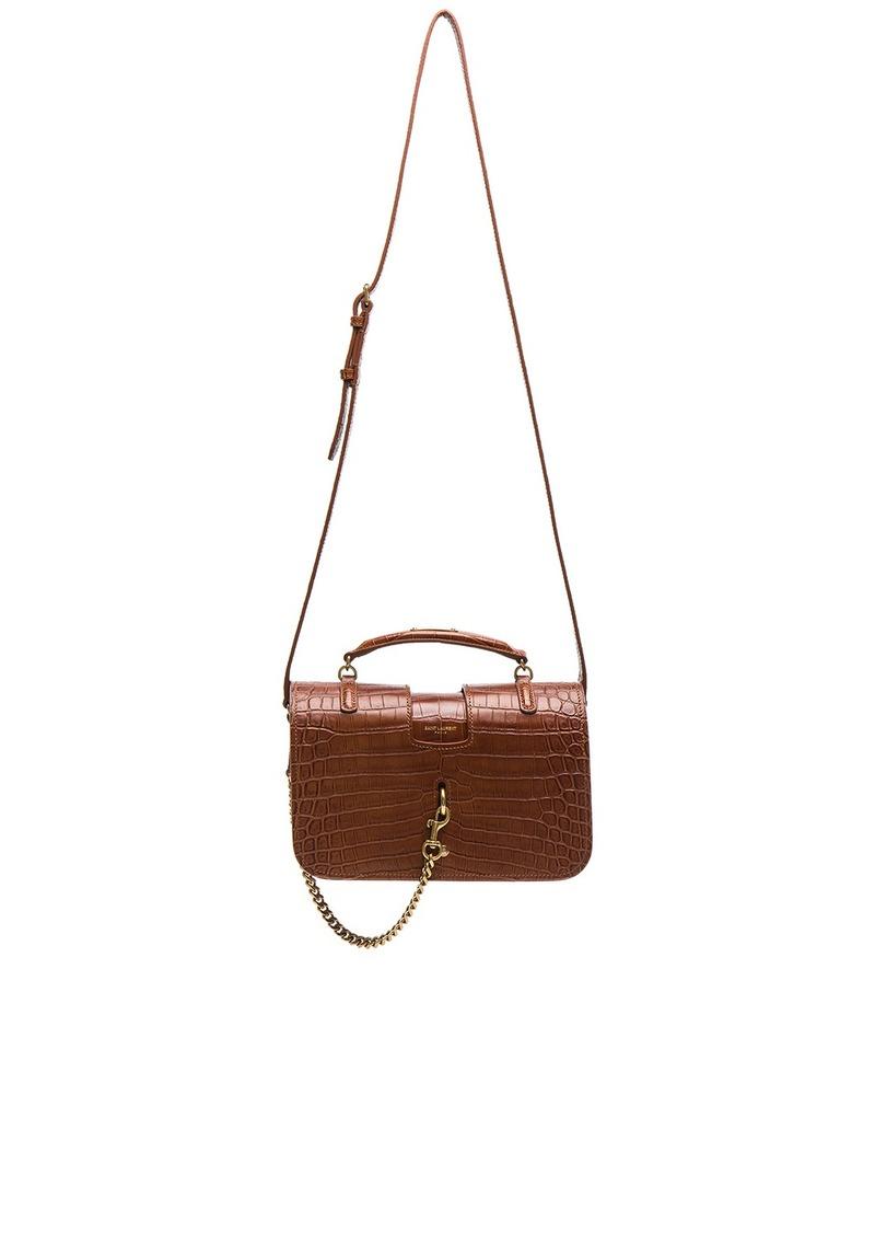 Saint Laurent Medium Croc Embossed Charlotte Messenger Bag