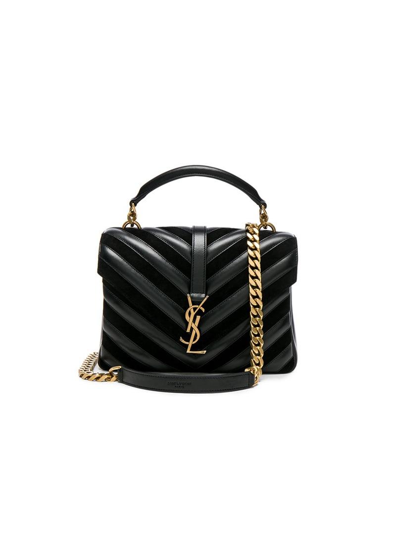 Saint Laurent Medium Leather   Suede Patchwork Monogramme College Bag 9af86ea4716ad