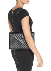 Saint Laurent 'Medium Monogram' Chevron Quilted Leather Shoulder Bag
