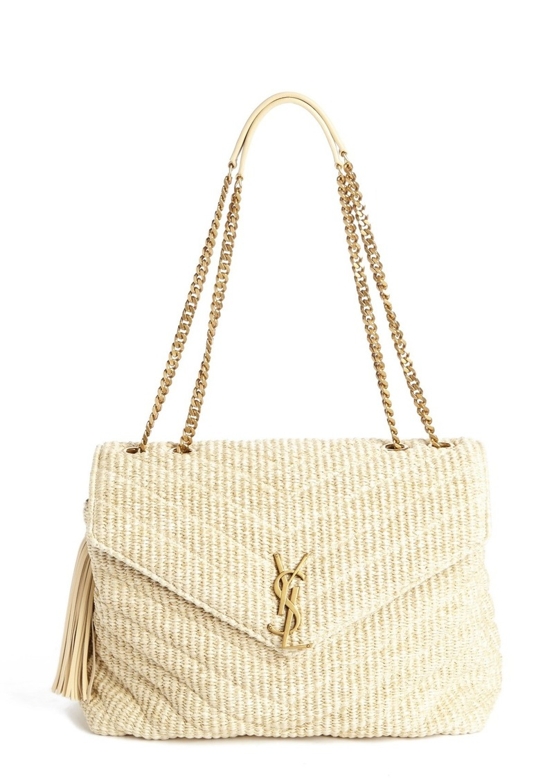 7b7f5161b1b Saint Laurent Saint Laurent Medium Monogram Straw Shoulder Bag ...