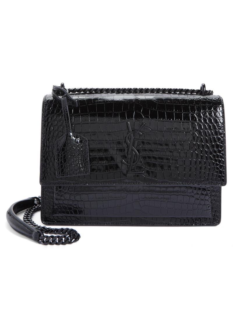 3b8ab50369ae Saint Laurent Saint Laurent Medium Sunset Croc Embossed Leather ...