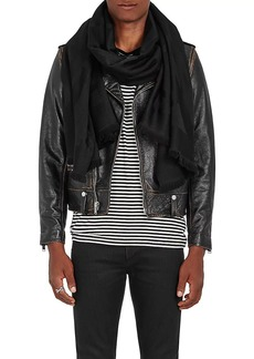 Yves Saint Laurent Saint Laurent Men's Abstract-Signature-Print Wool Scarf - Black