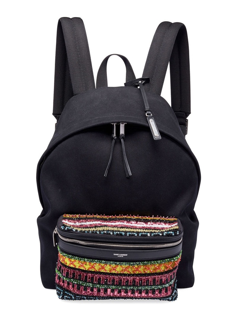 Yves Saint Laurent Saint Laurent Men's City Cotton Bead-Pocket Backpack