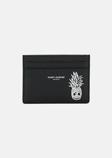 Yves Saint Laurent Saint Laurent Men's Pineapple Skull Leather Card Case - Black