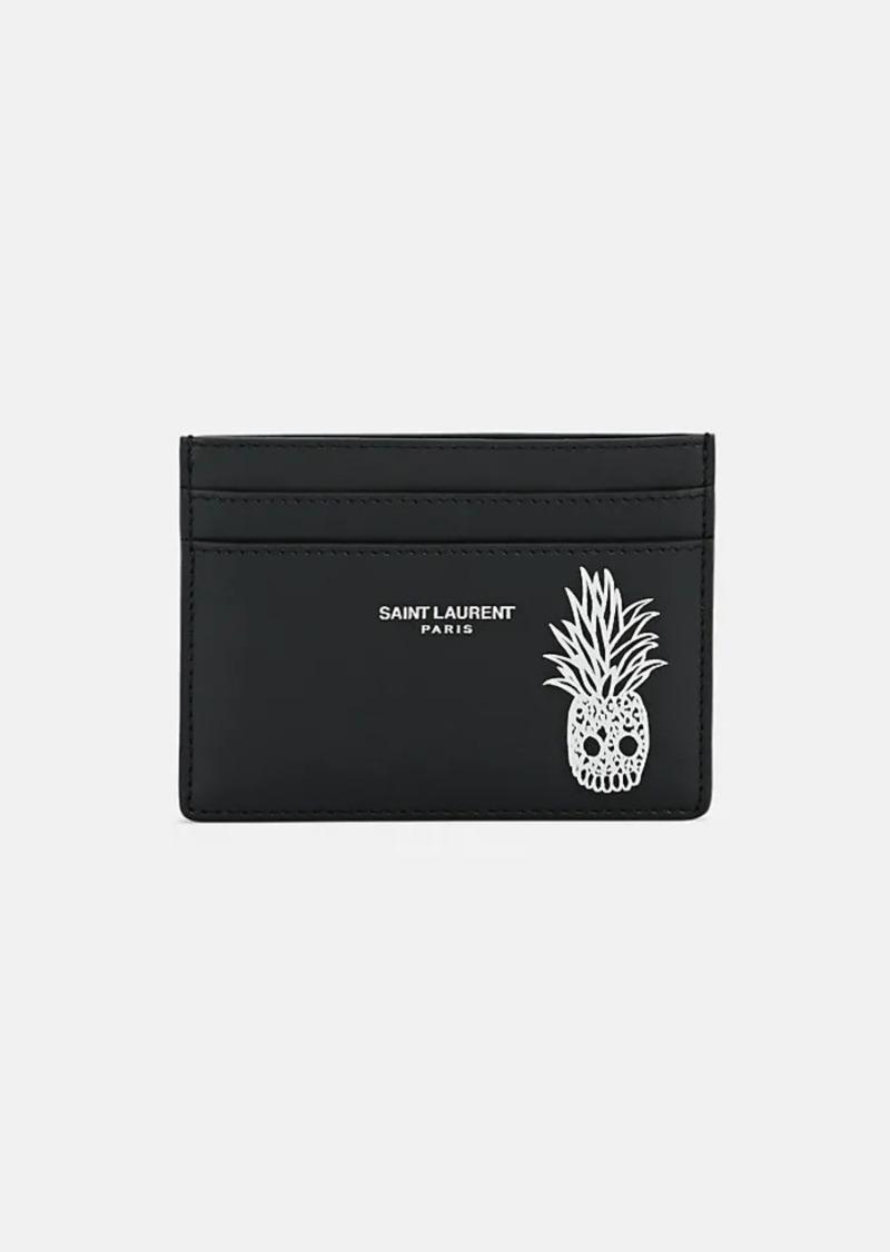 064205c3e4 Saint Laurent Men's Pineapple Skull Leather Card Case - Black