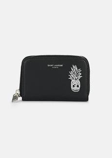 Yves Saint Laurent Saint Laurent Men's Pineapple Skull Zip-Around Leather Card Case - Black
