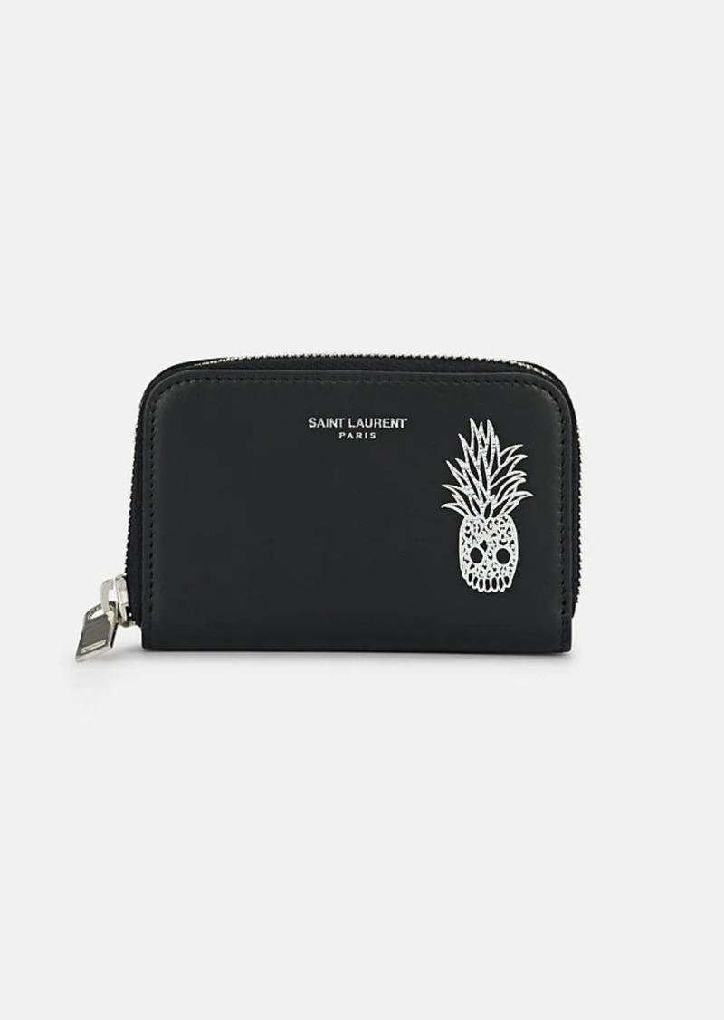 best sneakers 2e1ce bb06e Saint Laurent Men's Pineapple Skull Zip-Around Leather Card Case - Black