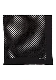 Yves Saint Laurent Saint Laurent Men's Polka Dot Silk Pocket Square - Black