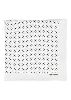 Yves Saint Laurent Saint Laurent Men's Polka Dot Silk Pocket Square - White