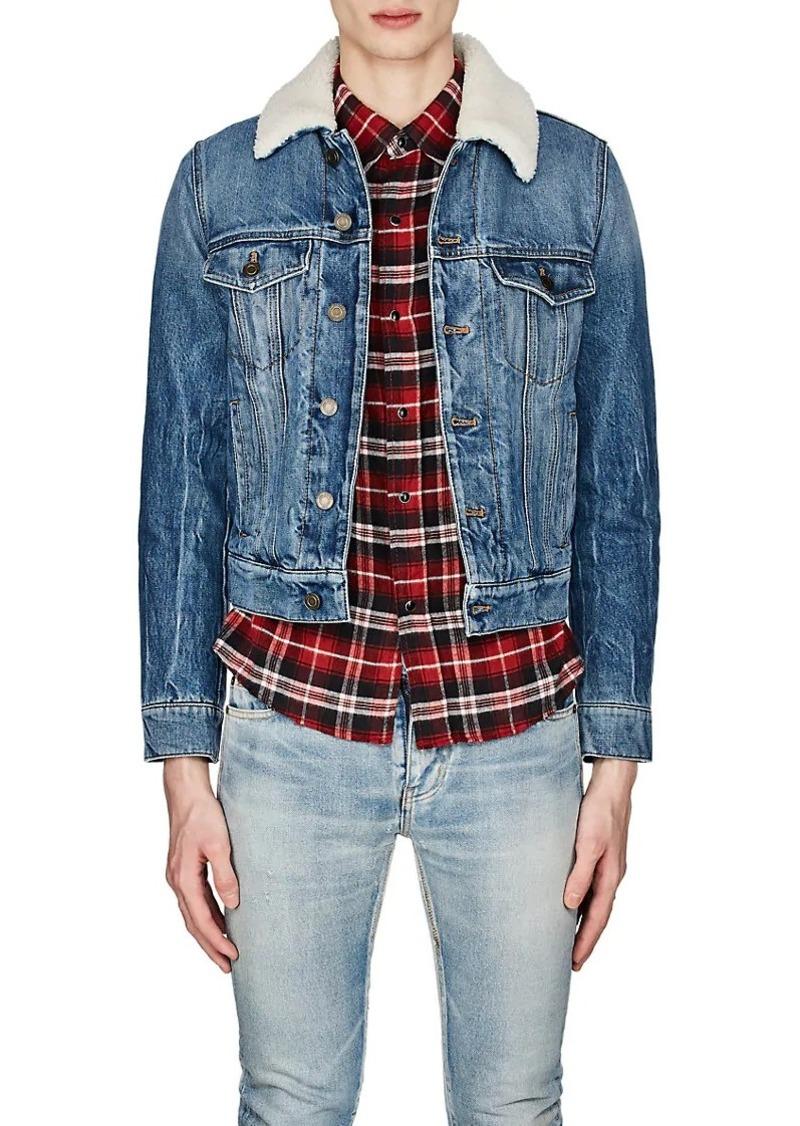 331ae609e99 Yves Saint Laurent Saint Laurent Men's Shearling-Detailed Denim Jacket