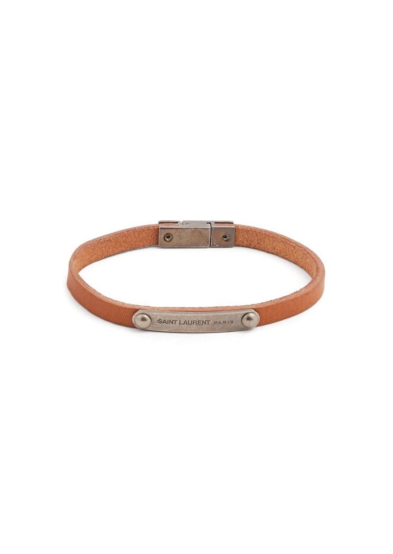 07fe13cfd6b9c Saint Laurent Metal plaque leather bracelet