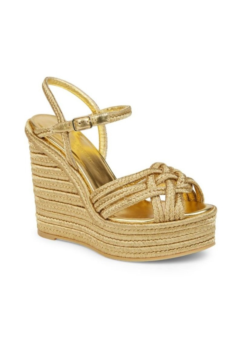 2457f36bbd96 Saint Laurent Saint Laurent Metallic Espadrille Wedge Sandals Now ...