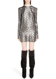 Yves Saint Laurent Saint Laurent Metallic Jacquard Shift Dress