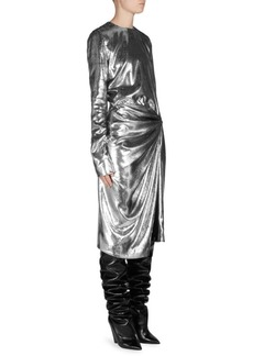 Saint Laurent Metallic Velvet Gathered Dress