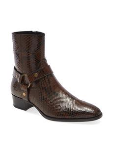 Yves Saint Laurent Saint Laurent Mid Heel Genuine Python Leather Boot (Men)