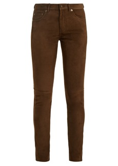 Saint Laurent Mid-rise skinny suede trousers
