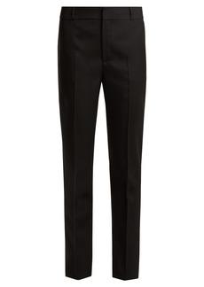 Saint Laurent Mid-rise slim-leg wool-gabardine trousers
