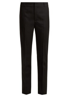 Saint Laurent Mid-rise slim-leg wool-gabardine trousers