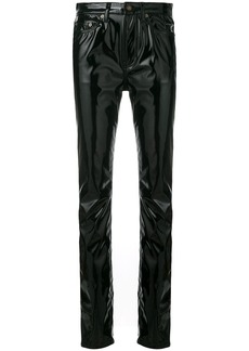 Saint Laurent mid-rise vinyl trousers - Black