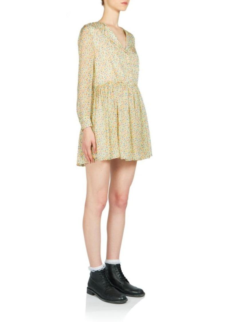 Saint Laurent Mini Floral-Print Open-Collar Silk Shirtdress