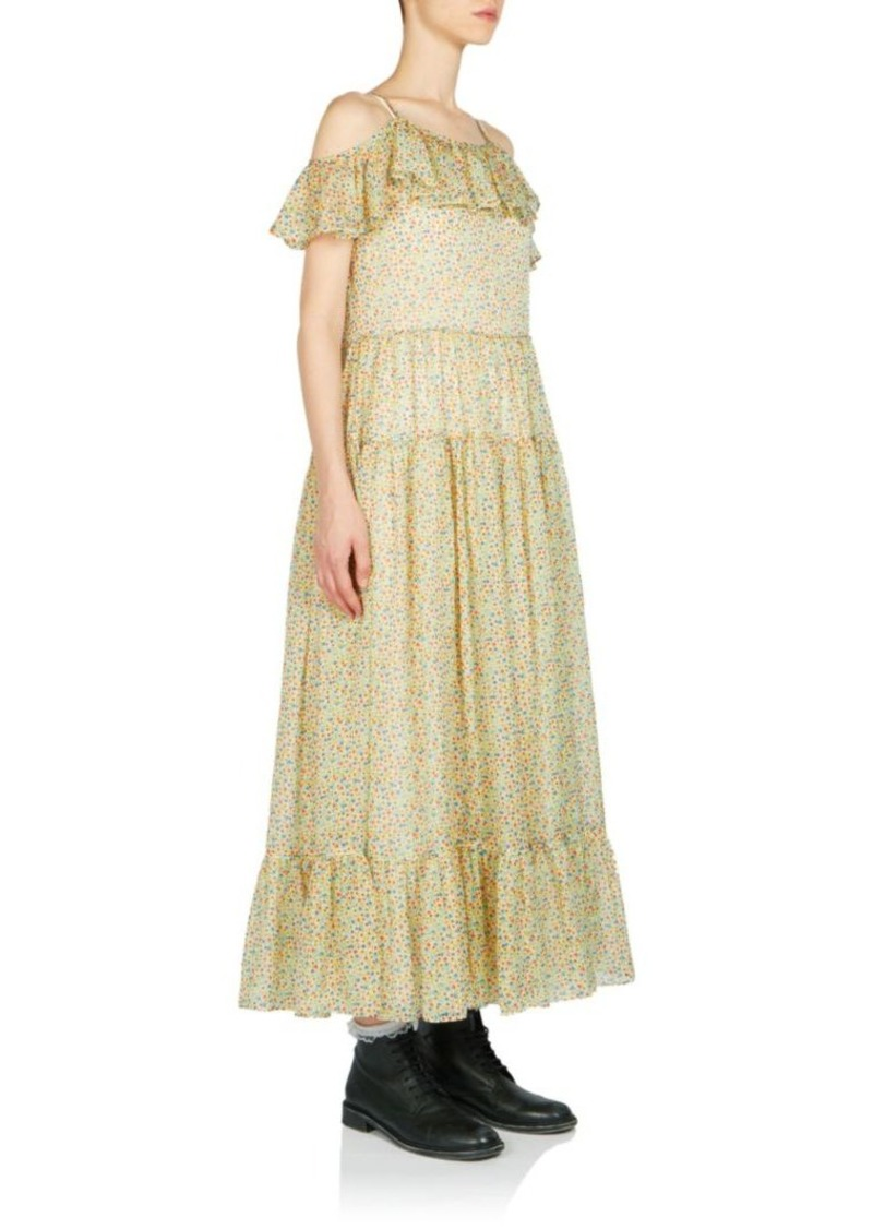 Saint Laurent Mini Floral-Print Ruffle Dress