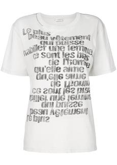 Yves Saint Laurent Saint Laurent mirrored slogan print T-shirt - White