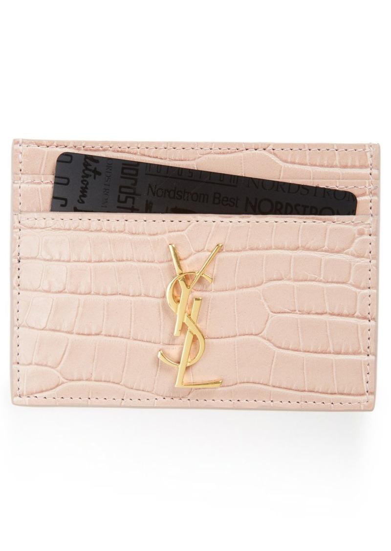 9f2bf04ce264 Saint Laurent Saint Laurent Monogram Croc Embossed Leather Card Case ...