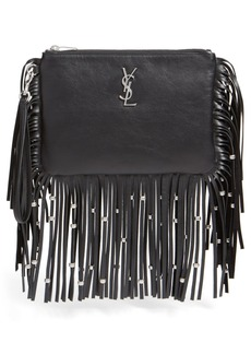 Yves Saint Laurent Saint Laurent 'Monogram' Fringe Calfskin Wristlet